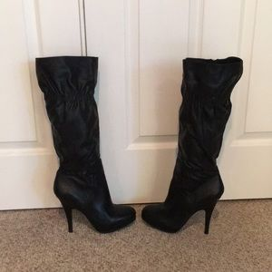 Michael Kors Black leather knee high platform boot